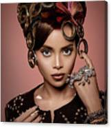 Woman With Ring Headdress And Bouffant Hairstyle Canvas Print