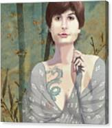 Woman With Tattoo Canvas Print