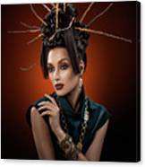 Woman With Twig Headdress And Oriental Look Canvas Print
