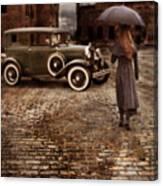 Woman With Umbrella By Vintage Car Canvas Print