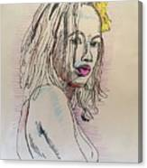Woman With Yellow Flower Canvas Print