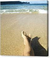 Womans Legs Relaxing Canvas Print