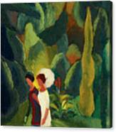 Women In A Park With A White Parasol Canvas Print