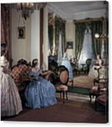 Women In Period Costumes Sit In An Canvas Print