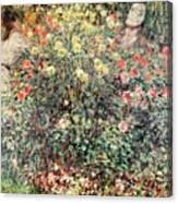 Women In The Flowers Canvas Print
