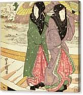 Women Walking Over A Bridge In Snow Canvas Print