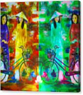 Women With Bike Canvas Print