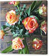 Wood And Roses Canvas Print
