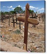 Wood Crosses In Taos Cemetery Canvas Print