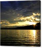 Wood Lake Sunburst Canvas Print