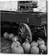 Wood Wagon And Pumpkins Black And White Canvas Print