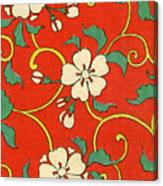 Woodblock Print Of Apple Blossoms Canvas Print
