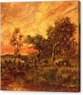 Wooded Landscape With A Faggot Gatherer Canvas Print