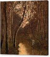 Wooded Landscape With Angler On The Riverside Canvas Print
