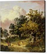 Wooded Landscape With Woman And Child Walking Down A Road  Canvas Print