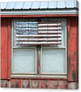 Wooden American Flag On Red Barn Canvas Print