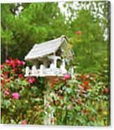 Wooden Bird House On A Pole 3 Canvas Print