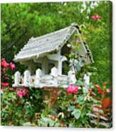 Wooden Bird House On A Pole 4 Canvas Print