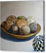 Wooden Bowl With Spheres Canvas Print