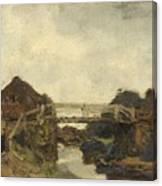 Wooden Bridge Across A Canal At Rijswijk Canvas Print