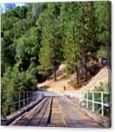 Wooden Bridge Over Deep Gorge Canvas Print