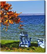 Wooden Chairs On Autumn Lake Canvas Print