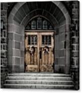 Wooden Church Door In Stone Archway Canvas Print