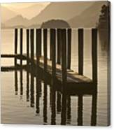 Wooden Dock In The Lake At Sunset Canvas Print