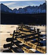 Wooden Fence And Sawtooth Mountain Range Canvas Print