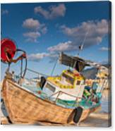 Wooden Fishing Boat On Shore Canvas Print