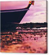 Wooden Fishing Thai Boat Sunken On The Rocky Beach During Tide Canvas Print