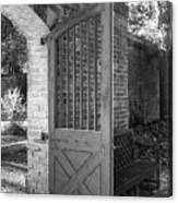 Wooden Garden Door B W Canvas Print