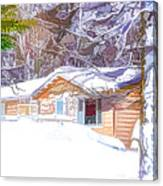 Wooden House In Winter Forest Canvas Print