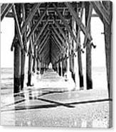 Wooden Post Under A Pier On The Beach Canvas Print