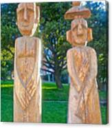 Wooden Sculptures In Central Park In Bariloche-argentina Canvas Print