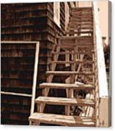 Wooden Stairs In Sepia Canvas Print
