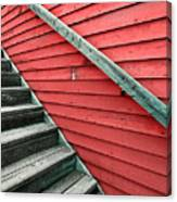 Wooden Steps Against Colourful Siding Canvas Print