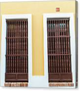 Wooden Windows In Old San Juan, Puerto Rico Canvas Print