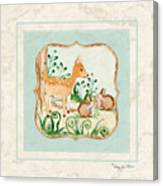 Woodland Fairy Tale - Deer Fawn Baby Bunny Rabbits In Forest Canvas Print