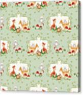 Woodland Fairy Tale - Mint Green Sweet Animals Fox Deer Rabbit Owl - Half Drop Repeat Canvas Print
