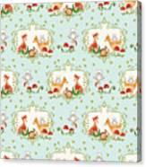 Woodland Fairy Tale - Sweet Animals Fox Deer Rabbit Owl - Half Drop Repeat Canvas Print