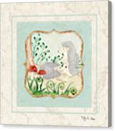 Woodland Fairy Tale - Woodchucks In The Forest W Red Mushrooms Canvas Print