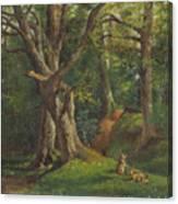 Woodland Scene With Rabbits Canvas Print