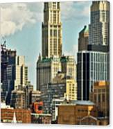 Woolworth Building From Hudson River Canvas Print