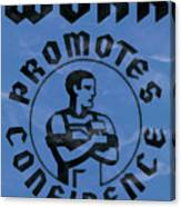 Work Promotes Confidence Blue Canvas Print