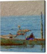 Working Hard Lobster Boat Smugglers Cove Boothbay Harbor Maine Canvas Print