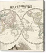 World Map - 1842 Canvas Print