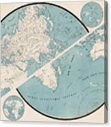 World Map - 1857 Canvas Print