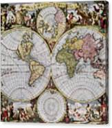 World Map, C1690 Canvas Print