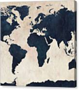 World Map Distressed Navy Canvas Print